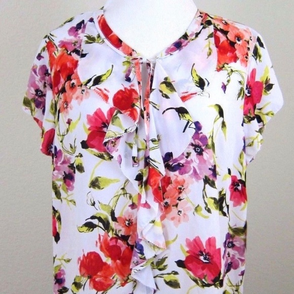 LIZ CLAIBORNE Blouse Top White Red Floral XL NEW 6dcea3c00